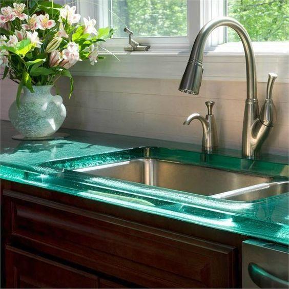 Materiales encimeras de cocina consejos y comparaci n - Cristal templado cocina precio ...